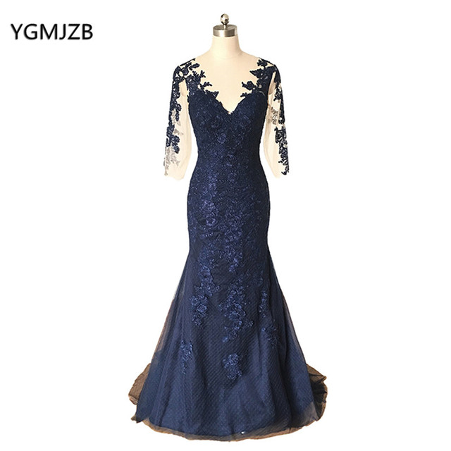 Navy Blue Mother Of The Bride Dress Plus Size 2018 Mermaid 3 4 Sleeves Lace  Women Long Formal Party Evening Dress for Wedding 012b2e1db72b