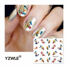 YZWLE 1 Sheet 2019 Top Sell Feather Water Transfer Sticker Nail Art Decals Nails Wraps Temporary Tattoos Watermark Nail(China)