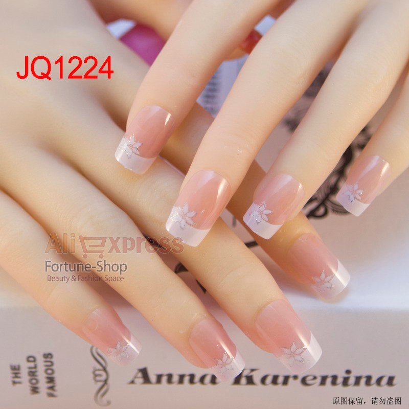 JQ 24pcs/set Pre Design fake Nail Tips 10 Size 3d Acrylic Nails Full French  nail art tips With Free Nail Adhesive Glue Tape-in False Nails from Beauty  ... - JQ 24pcs/set Pre Design Fake Nail Tips 10 Size 3d Acrylic Nails Full