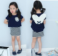 Girls Set Children Clothing 2017 Summer Brand Girls Tracksuit Kids Striped Clothes 3D Angel Girl Clothing Sets