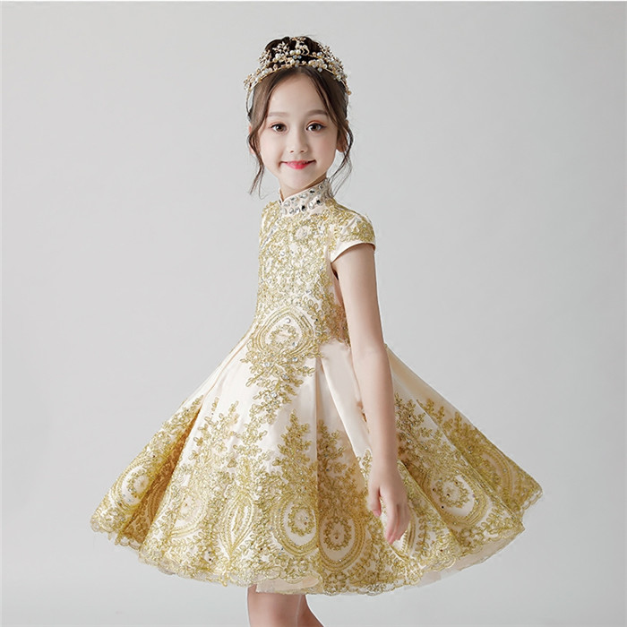 2018 New Luxury Children Girls Fashion High Quality Golden Embroidery Lace Birthday Wedding Party Long Tail Dress Kids Teenagers