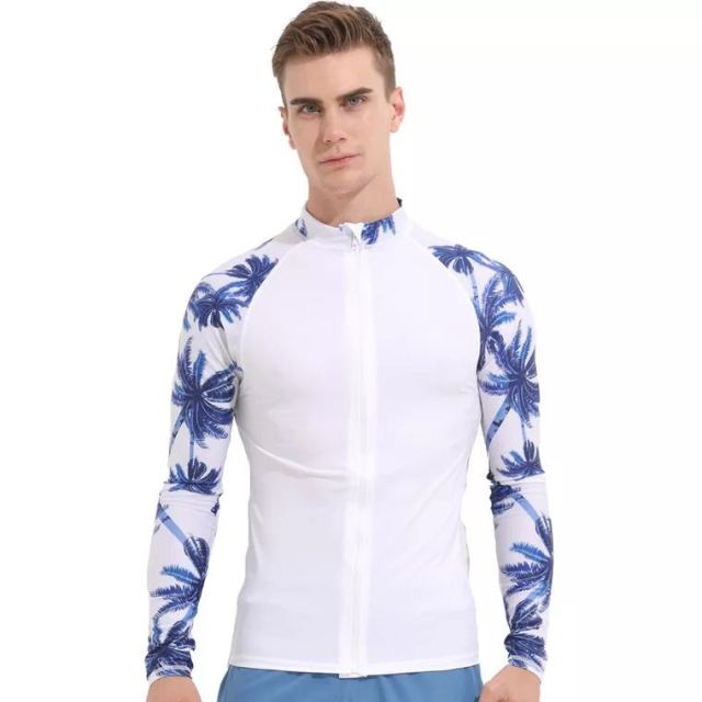 859a6d094ac Sbart 2018 White Rashguard for Men Long Sleeve Swimsuit UV Protection Swim  Shirt Swimwear Man Separated