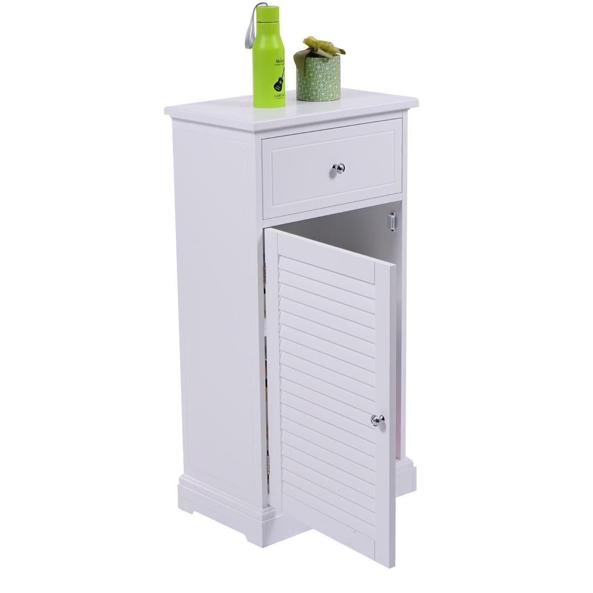 Giantex White Storage Floor Cabinet Modern Wall Shutter Door ...