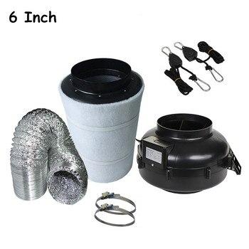 6 zoll Metall Fall Inline Auspuff Fan Gebläse Kreisel Fan & Carbon Luftfilter & Rohrleitungen Hydrokultur Belüftung Kit Wachsenden set