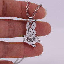 hzew new dancing rabbit pendant necklace cute rabbit necklace cute rabbit style rhinestone pendant necklace pink silver