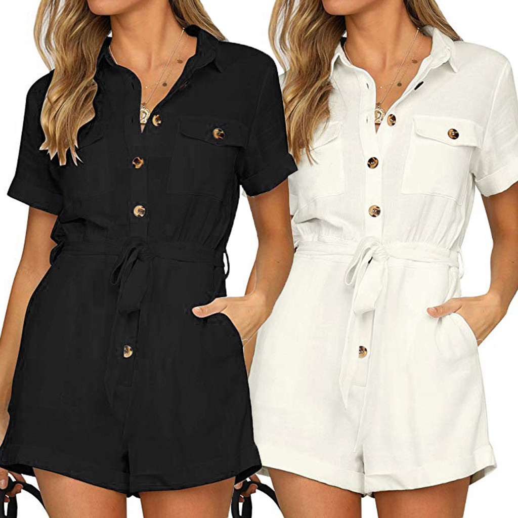 FEITONG Women's Button Down Cuffed Short Sleeve Casual Boho Playsuit Jumpsuit 2019