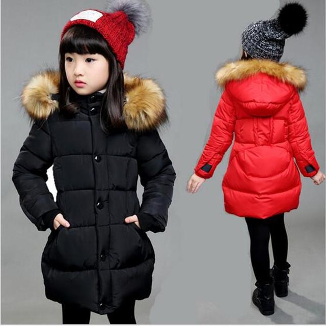 2016 Meninas de Inverno Da Marca Com Capuz Casacos Quentes Criança de Manga Comprida de Natal Com Escola Bonito Outerwear Crianças Amassado Longo Casaco De Pele