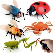 Инфракрасные радиоуправляемые игрушки для животных, насекомых, имитация паука, пчела, летающий краб, божья коровка, мантис, игрушечный Электрический робот, Хэллоуин, шалость, насекомые, детские игрушки