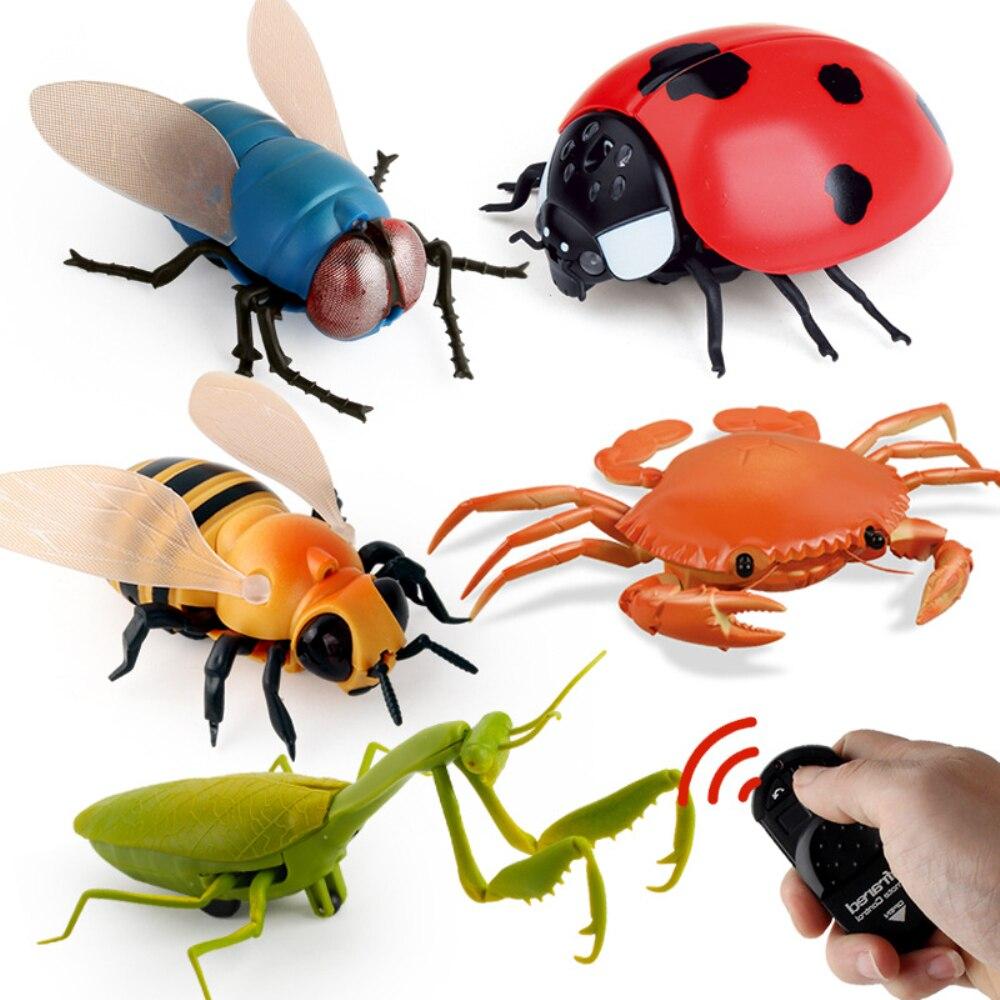 Infravermelho rc animal inseto brinquedos simulação aranha abelha voar caranguejo ladyb mantis robô elétrico brinquedo halloween brincadeira insetos crianças brinquedos