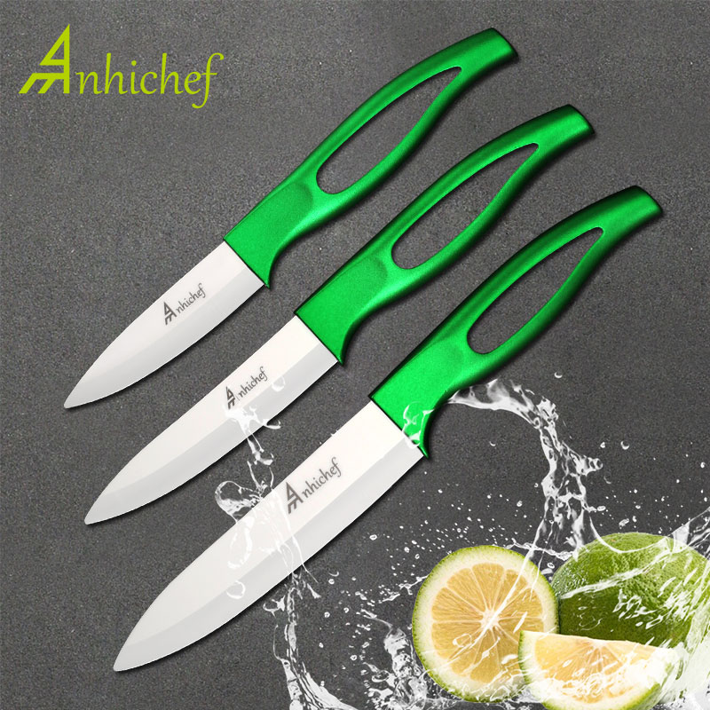 Anhichef ceramic knife kitchen accessories 5 slicing 4 utility 3 paring fruit kitchen knives very hot sales cooking tools
