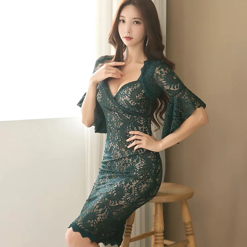 Fashion women elegant korean comfortable lace dress new arrival OL slim  hollow sexy perspective temperament v neck pencil dress-in Dresses from  Women s ... 0d456a11bc4b