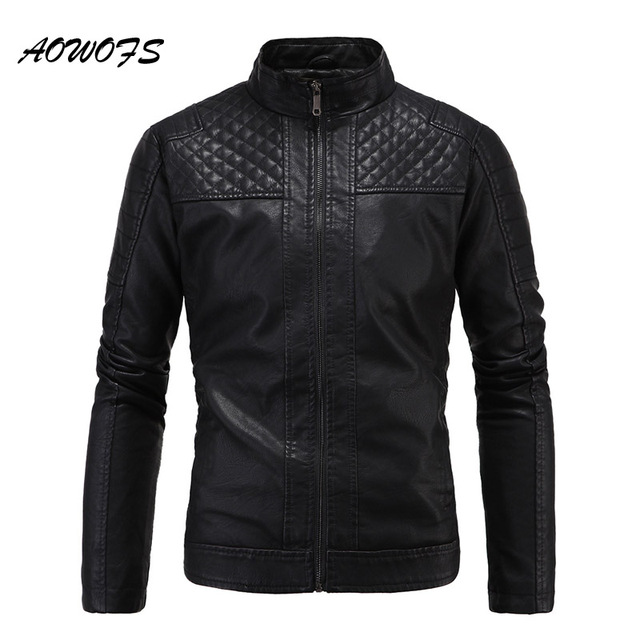 AOWOFS Mens Quilted Leather Jackets 2017 Fashion Black Vintage ... : quilted leather jacket mens - Adamdwight.com
