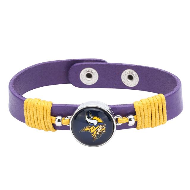 0c6621c8 10pcs/lot! Adjustable Premium Leather Ginger Snaps Bracelet with a  Minnesota Vikings 18mm Snap for Men,Women #1105-in Cuff Bracelets from  Jewelry & ...