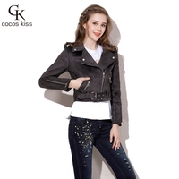 2017 New Women Fashion Personality Cashmere Leather Jacket All Match Composite Coat
