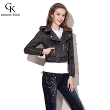 2017 New Women Fashion Personality Cashmere Leather Jacket All-match Composite Coat