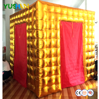 Gold and White Digital Inflatable Photo booth With RGB LED bulbs lights and small window Portable Inflatable tent Backdrop Sales
