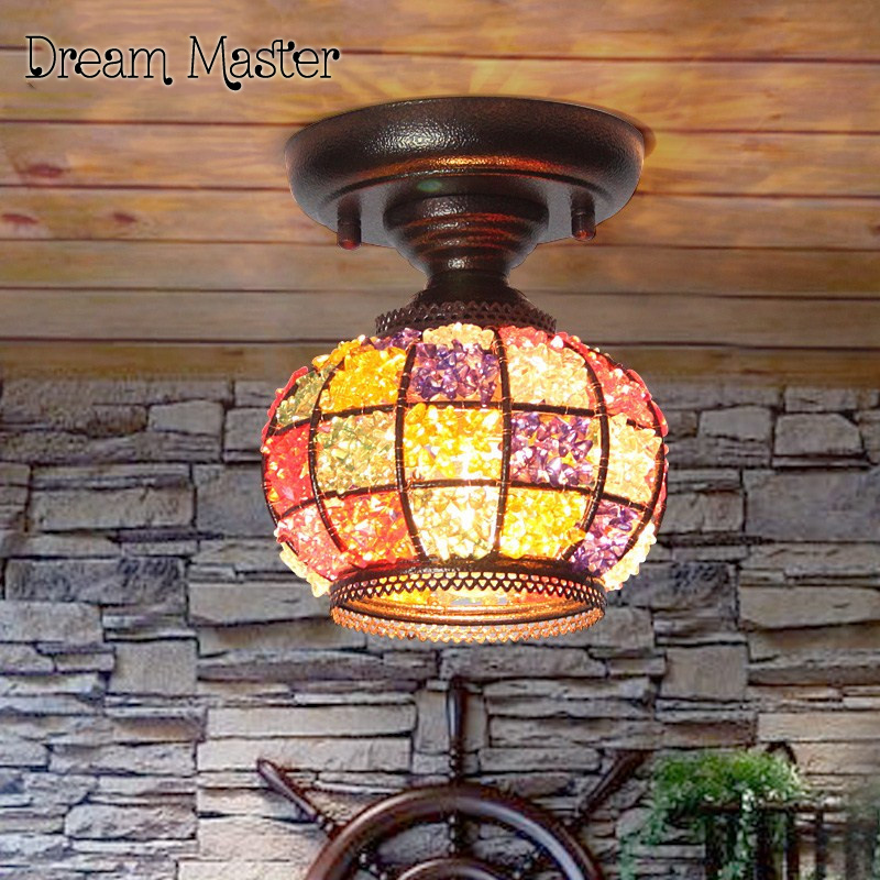 Simple European pastoral exotic rainbow lights retro mosaic entrance aisle ceiling lamps in Southeast Asia Postage free