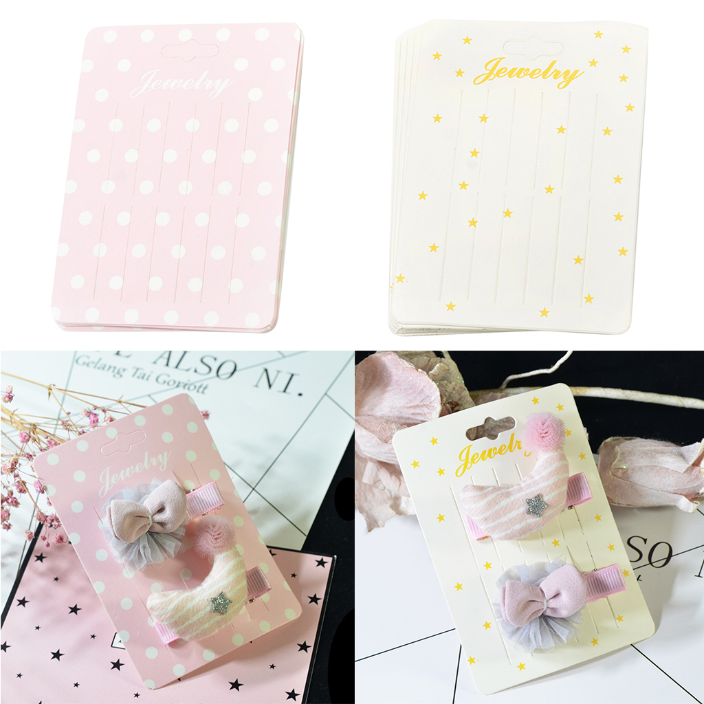 20 Pieces Cute Rectangle Paper Hair Clip Hairpin Barrette Hair Jewelry Hair Accessories Display Packaging Cards