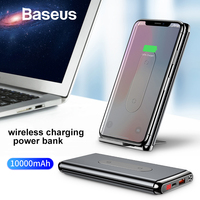 Baseus Wireless Power Bank 10000mah For iPhone Samsung Portable External Battery Pack LCD Display QC3.0 Fast Charger Powerbank