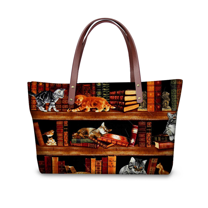 Retro Vintage Women Totes Cross-body Bags Cute Book Shelf Sleepy Kitty Cat Printing Hand ...