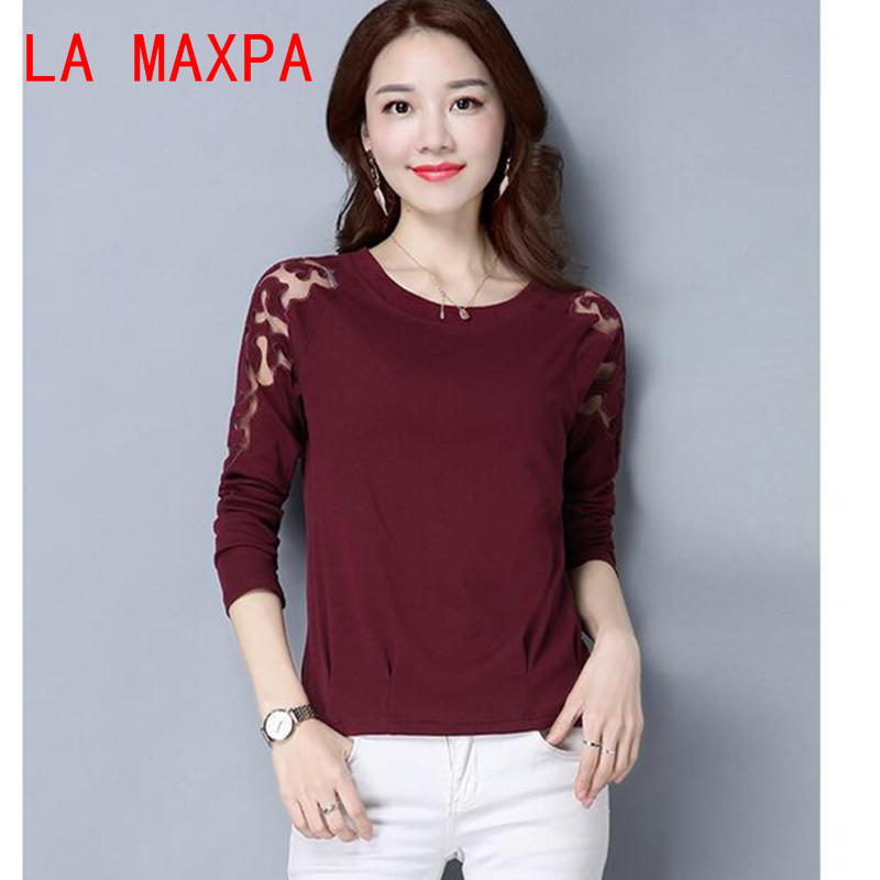 Lace   Blouse     Shirt   Women RedBlack Plus Size Casual Chiffon   Blouse   Women's Clothing Loose Long Sleeve Women   Blouse   Top Female 8446
