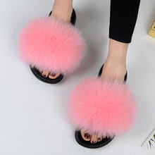 Real fox fur women's sandals and slippers(China)
