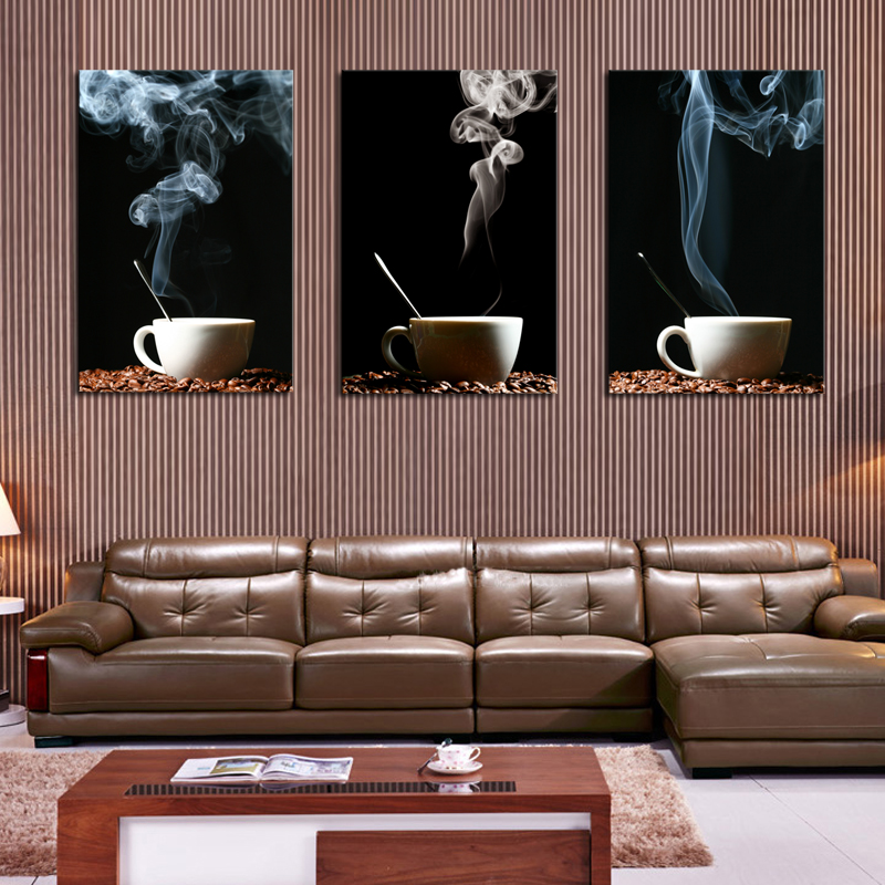 Luxury Unframed 3 Panel Coffee Cup Wall Art Picture Modern Painting Canvas Home Decoration Living Room