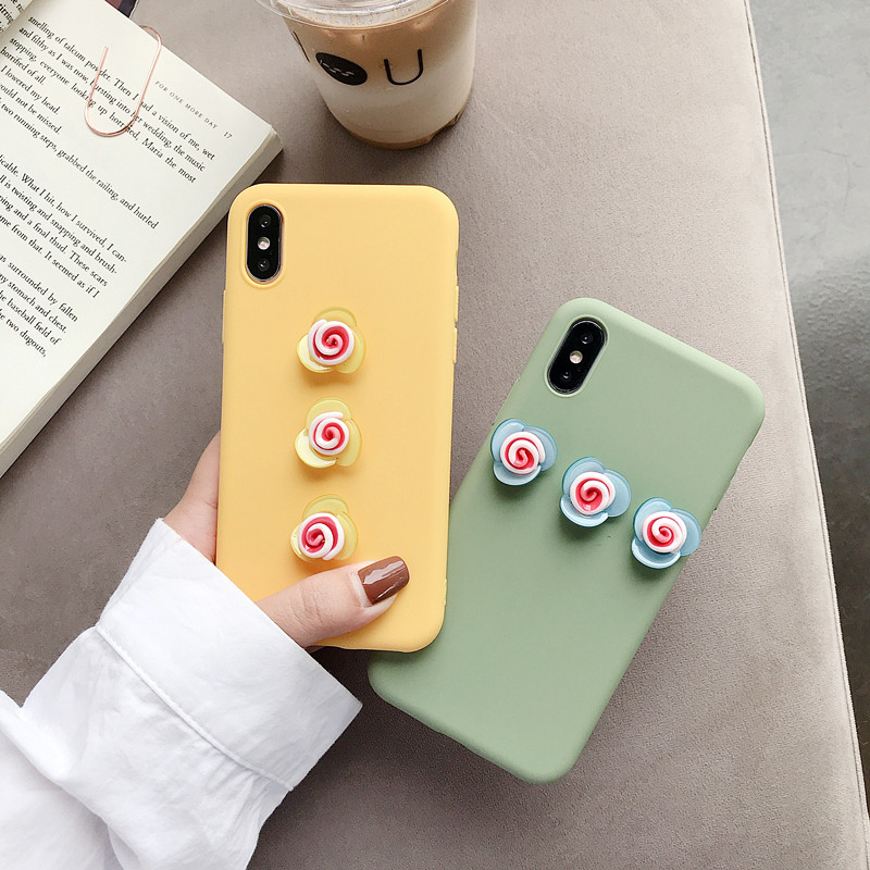 Image 2 - Cute 3D Rose Flower Phone Case For iPhone 8 7 6 6s Plus Cover For iPhone X XS Max XR Fashion Floral Pattern Soft Back Cases Capa-in Fitted Cases from Cellphones & Telecommunications