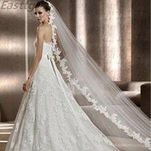 2020 foto reali velo da sposa bianco/avorio 3m pettine lungo pizzo Mantilla cattedrale veli da sposa accessori da sposa Veu De Noiva