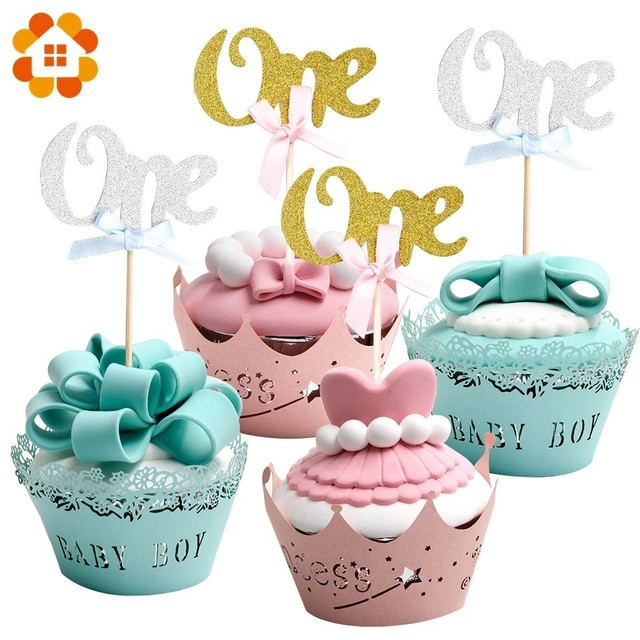 12PCS Cupcake Toppers Letter One Birthday Party Decoration For 1 Year Old Baby First Cake Topper Paperboard Supplies