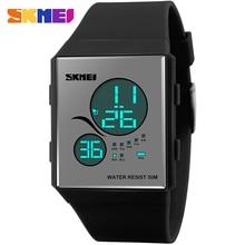 SKMEI moda sport mujeres relojes digitales LED display PU starp 50 m impermeable relojes reloj ocasional señoras de la marca azul negro mujer