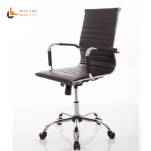 High quality Office Chair leather high back plastic armrests with gas lift roller free shipping in Russia(China)