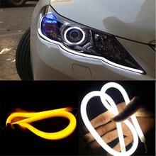 2x ультратонкие 30 см 45 см 60 см DRL гибкие светодиодные трубки стиль поворотник стоп дневные ходовые огни авто DRL синий/белый/желтый