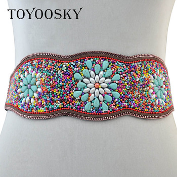 Luxury Ethnic Turquois Traditional Bohemian Wide woman belt strap for women jeans Dress female belts High quality TOYOOSKY