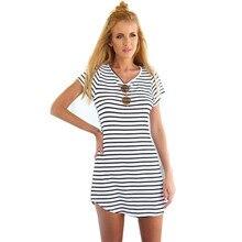 2017 summer beach women causal A line modal dresses girl clothing fashion princess short sleeve stripled
