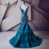Długie Prom Dresses 2017 Vestido De Festa Longo Dekolt Kryształy Lace-up Luksusowe Suknia Długi Wieczór Suknie Wieczorowe Party