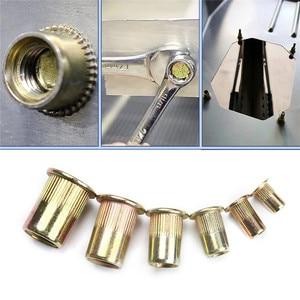 Image 5 - Écrous à Rivet, 165/210 pièces en acier au carbone, jeu de écrous à tête plate, M3 M12 écrous à rechaper, multi taille avec boîte