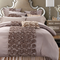 4 6 Pieces Handwork Rose Shaped Luxury Wedding Bedding Set King Size Queen Solid Color Bed