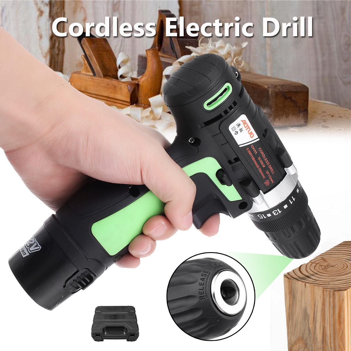 12V Li-Ion Battery Rechargeable Cordless Electric Drill Driver Screwdriver Power Tool With LED Light free shipping proskit pt 1362u usb li ion cordless electric screwdriver electronics repair tool set power tool kit household