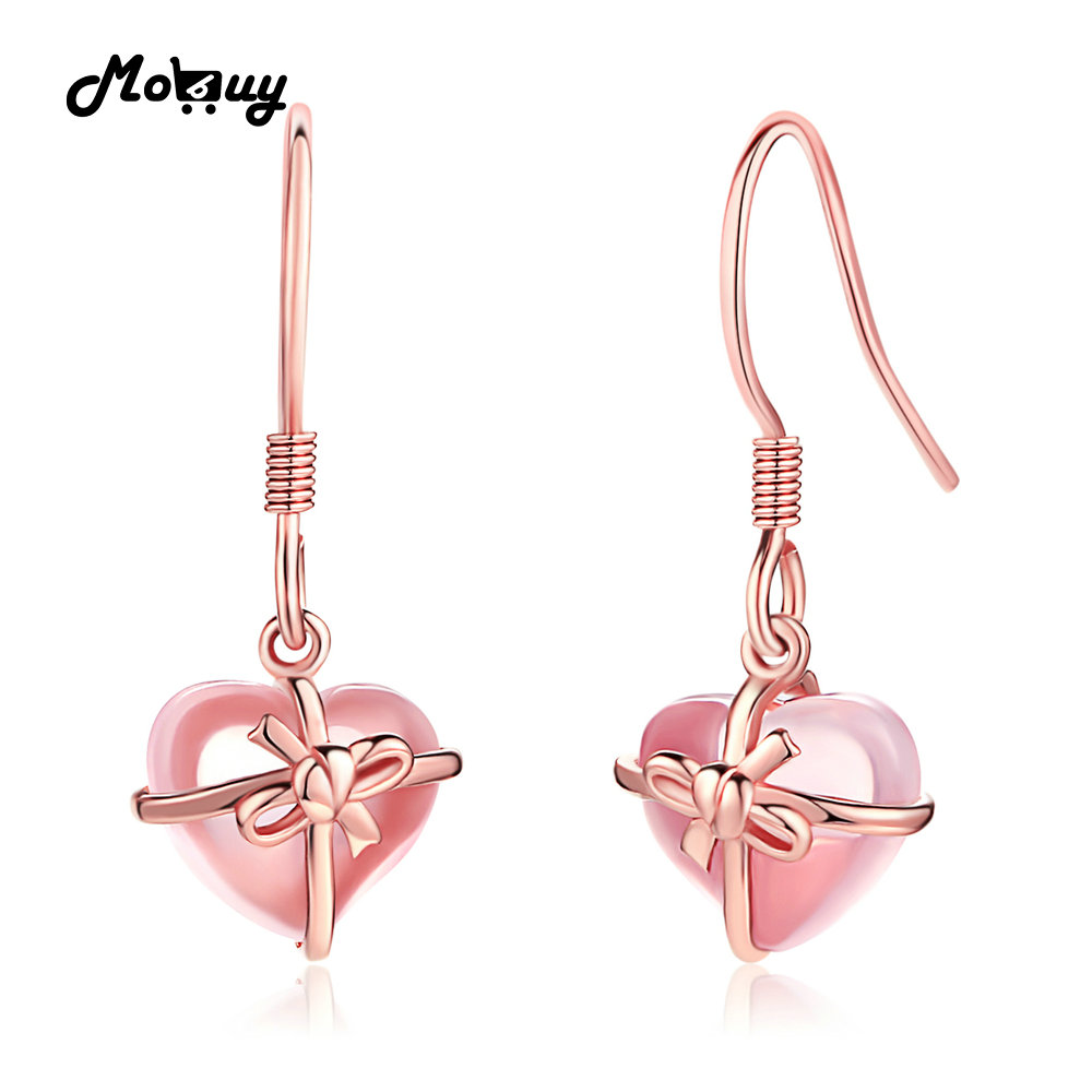 MoBuy MBEI012 Love Heart Natural Gemstone Rose Quartz Drop Dangle Earring 925 Sterling Silver Gold Plated