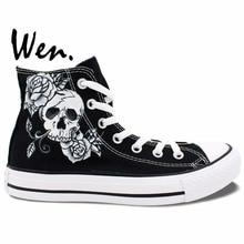 Wen Original Design Custom Hand Painted Shoes Skull Man Rose Skullomania High Top Men Women s