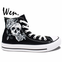 Wen Original Design Custom Hand Painted Shoes Skull Man Rose Skullomania High Top Men Women's Canvas Sneakers