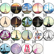 12mm 14mm 16mm 20mm 25mm 056 12pcs/lot Eiffel Tower Mix Round Glass Cabochons Jewelry Findings 18mm Snap Button Charm Bracelet