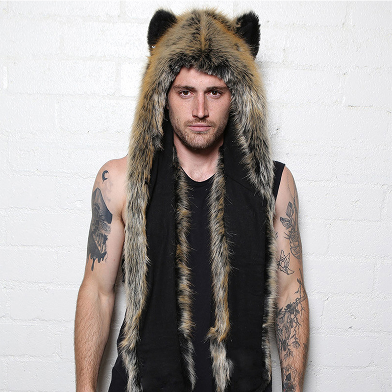 2019Winter Warm Faux Fur Hat Scarf Ear Design Unisex Animal Hat Scarf Glove Sets Accessories PC196