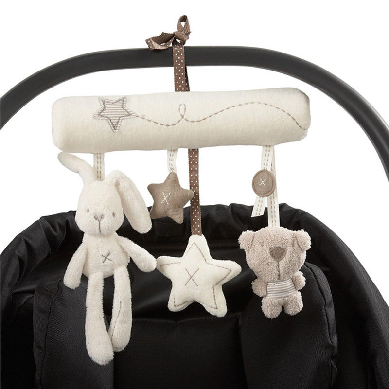 Creative Infants Cradle Cute Rabbit baby music hanging bed safety seat plush toy Hand Bell Multifunctional Plush Toys(China)