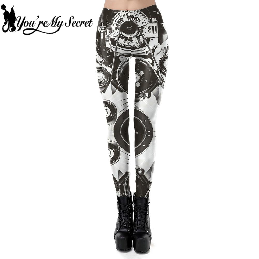 [You're My Secret] New Retro Vintage Steampunk Theme Design Mid Waist Mechanical Gear 3D Digital Print Leggin Women Leggings