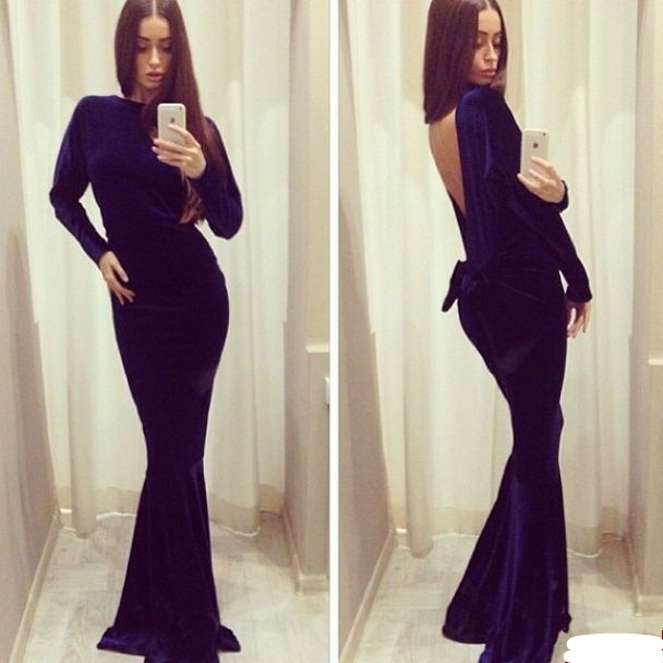 Wholesales Free Shipping Amazing Blackless Velvet Material Long Sleeves Cheap Elegant Formal Evening Prom Dresses In Prom Dresses From Weddings Events On