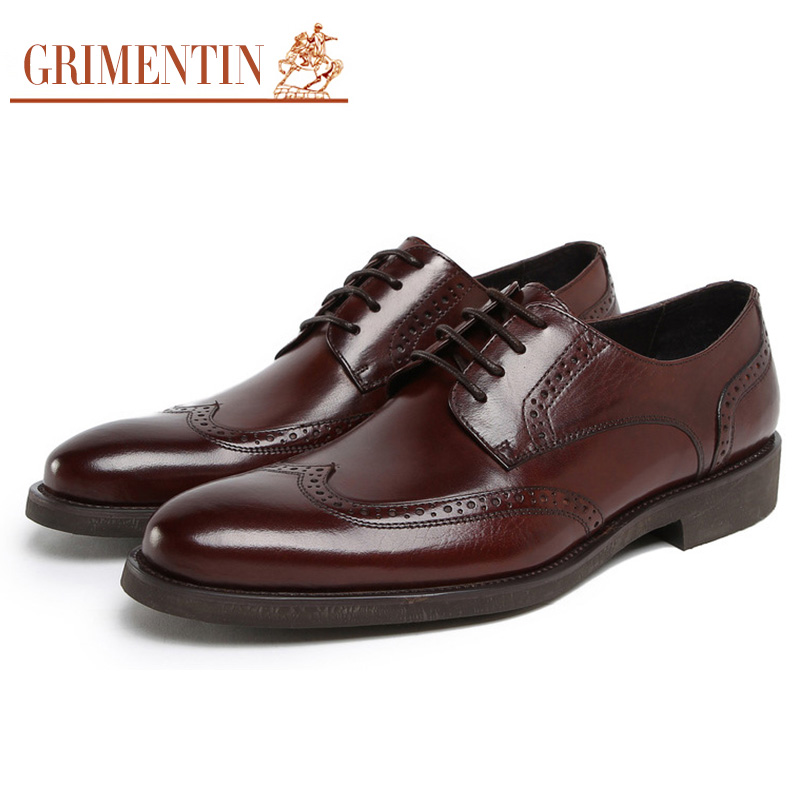 Grimentin Fashion British Style Classic Vintage Men Oxford Leather Shoes Black Brown Mens Casual