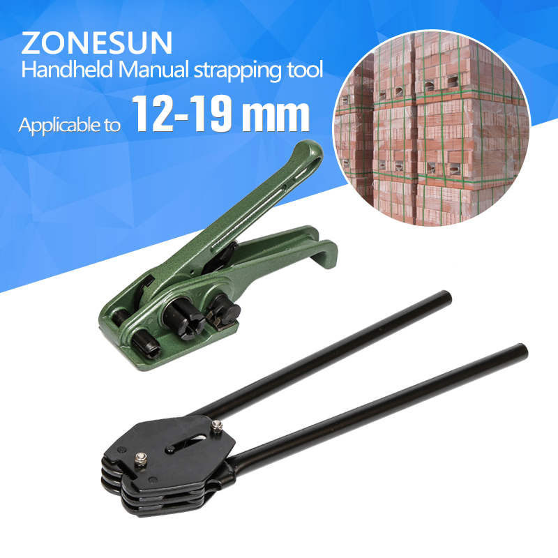 ZONESUN Manual Ployester strapping tool manual strapping tool sealer and tensioner for 12mm 16mm 19mm strap hm 93 guaranteed 100% new general manual steel band strapping tool steel strapping tensioner and sealer for steel strap 19mm