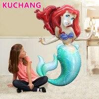 1 stks 96*134 cm 3D Mermaid Prinses Ballon Tropische Zomer Strand onder Zee Meisjes Verjaardag Thema Party decoraties Levert
